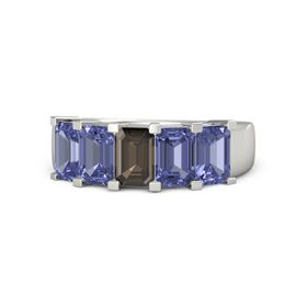 Emerald Smoky Quartz 14K White Gold Ring with Tanzanite