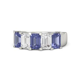 Emerald Tanzanite 14K White Gold Ring with White Sapphire and Tanzanite