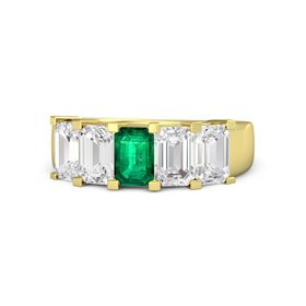 Emerald Emerald 14K Yellow Gold Ring with White Sapphire
