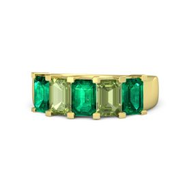 Emerald-Cut Emerald 14K Yellow Gold Ring with Peridot & Emerald
