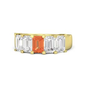 Emerald-Cut Fire Opal 14K Yellow Gold Ring with White Sapphire