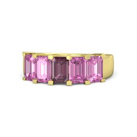 Emerald-Cut Rhodolite Garnet 14K Yellow Gold Ring with Pink Sapphire