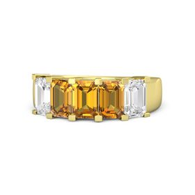 Emerald Citrine 14K Yellow Gold Ring with Citrine and White Sapphire
