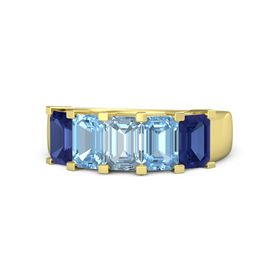 Emerald-Cut Aquamarine 14K Yellow Gold Ring with Blue Topaz & Sapphire