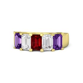 Emerald Ruby 14K Yellow Gold Ring with White Sapphire and Amethyst