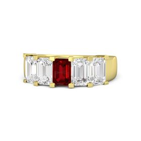 Emerald-Cut Ruby 14K Yellow Gold Ring with White Sapphire