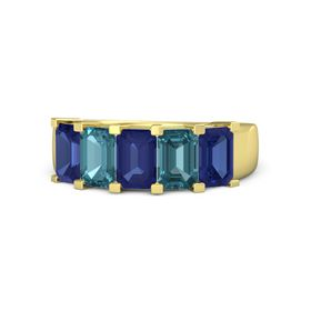 Emerald-Cut Sapphire 14K Yellow Gold Ring with London Blue Topaz & Sapphire