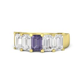 Emerald Iolite 14K Yellow Gold Ring with White Sapphire