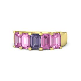 Emerald-Cut Iolite 14K Yellow Gold Ring with Pink Sapphire
