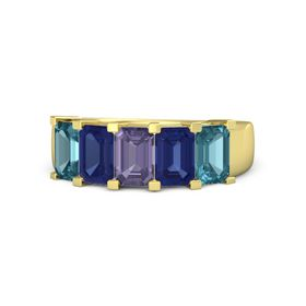 Emerald-Cut Iolite 14K Yellow Gold Ring with Sapphire & London Blue Topaz