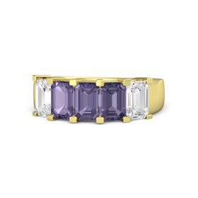Emerald Iolite 14K Yellow Gold Ring with Iolite and White Sapphire