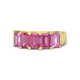 Emerald-Cut Pink Tourmaline 14K Yellow Gold Ring with Pink Tourmaline & Pink Sapphire