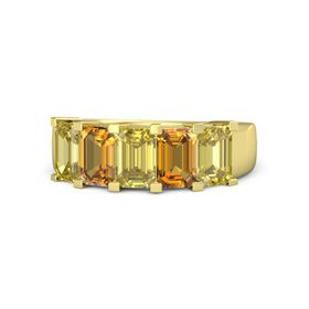 Emerald-Cut Yellow Sapphire 14K Yellow Gold Ring with Citrine & Yellow Sapphire