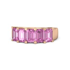 Emerald-Cut Pink Sapphire 18K Rose Gold Ring with Pink Sapphire