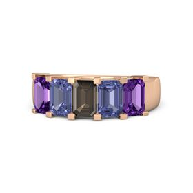 Emerald Smoky Quartz 18K Rose Gold Ring with Tanzanite and Amethyst