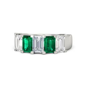 Emerald-Cut Diamond Palladium Ring with Emerald & White Sapphire