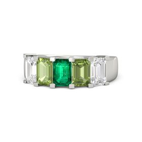 Emerald Emerald Palladium Ring with Peridot and White Sapphire