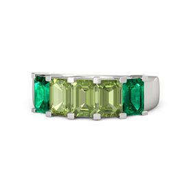 Emerald-Cut Peridot Palladium Ring with Peridot & Emerald
