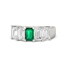Emerald-Cut Emerald Platinum Ring with White Sapphire