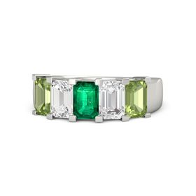 Emerald Emerald Platinum Ring with White Sapphire and Peridot