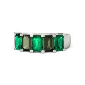 Emerald Emerald Platinum Ring with Green Tourmaline and Emerald