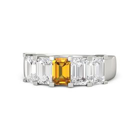 Emerald-Cut Citrine Platinum Ring with White Sapphire