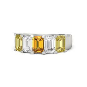 Emerald Citrine Platinum Ring with White Sapphire and Yellow Sapphire
