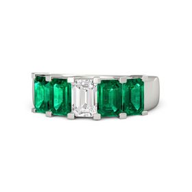 Emerald-Cut White Sapphire Platinum Ring with Emerald