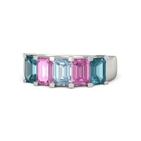 Emerald Aquamarine Platinum Ring with Pink Sapphire and London Blue Topaz