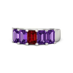 Emerald Ruby Platinum Ring with Amethyst