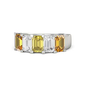 Emerald Yellow Sapphire Platinum Ring with White Sapphire and Citrine