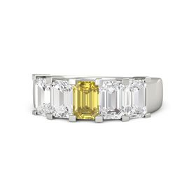 Emerald-Cut Yellow Sapphire Platinum Ring with White Sapphire