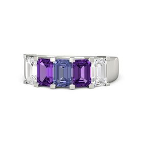 Emerald Tanzanite Platinum Ring with Amethyst and White Sapphire