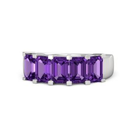 Emerald-Cut Amethyst Sterling Silver Ring with Amethyst