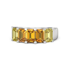 Emerald Citrine Sterling Silver Ring with Citrine and Yellow Sapphire