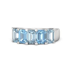 Emerald-Cut Aquamarine Sterling Silver Ring with Blue Topaz & Aquamarine