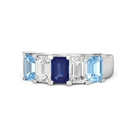 Emerald Blue Sapphire Sterling Silver Ring with White Sapphire and Blue Topaz