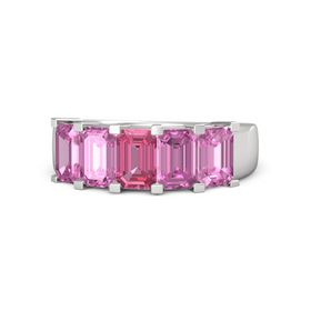 Emerald Pink Tourmaline Sterling Silver Ring with Pink Sapphire