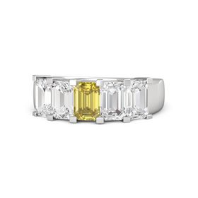 Emerald Yellow Sapphire Sterling Silver Ring with White Sapphire