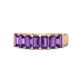 Emerald-Cut Amethyst 14K Rose Gold Ring with Amethyst