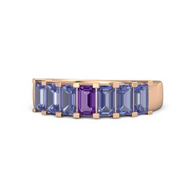 Emerald Amethyst 14K Rose Gold Ring with Tanzanite