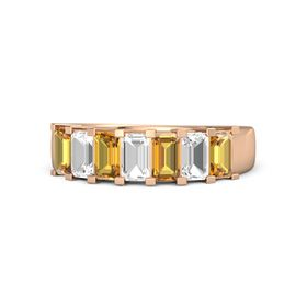 Emerald Rock Crystal 14K Rose Gold Ring with Citrine and Rock Crystal