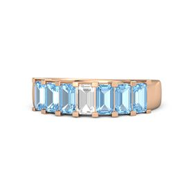 Emerald Rock Crystal 14K Rose Gold Ring with Blue Topaz