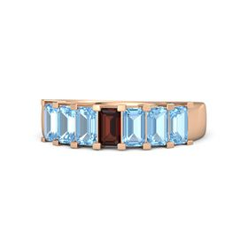 Emerald Red Garnet 14K Rose Gold Ring with Blue Topaz