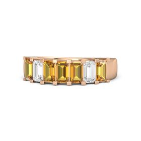 Emerald Citrine 14K Rose Gold Ring with Citrine and White Sapphire