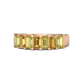 Emerald Citrine 14K Rose Gold Ring with Yellow Sapphire and Citrine