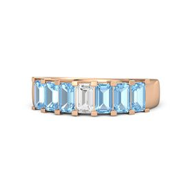 Emerald White Sapphire 14K Rose Gold Ring with Blue Topaz