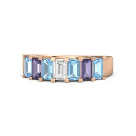 Emerald White Sapphire 14K Rose Gold Ring with Blue Topaz and Iolite