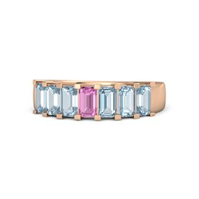 Emerald Pink Sapphire 14K Rose Gold Ring with Aquamarine