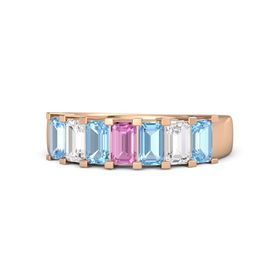 Emerald Pink Sapphire 14K Rose Gold Ring with Blue Topaz and White Sapphire
